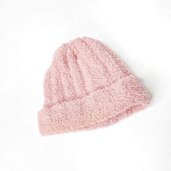 Free People Cloud Ribbed Beanie Pink Plush soft warm hat
